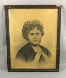 Vintage Antique Drawing Portrait Woman With Bonnet
