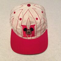 Vintage Mickey Mouse Disney Red PinStripe SnapBack Hat Baseball Cap
