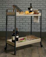 Serving Bar Cart Kitchen Trolley Shelves Rolling Caster Dining Room Wood Metal