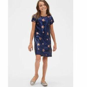 Gap Kids Girl's Navy Star Sequin Shift Party Dress Size M Medium 8 NWOT RTL $68