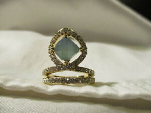 AVON Opalesque Floating Ring w/Rhinestone Accents Goldtone Size 8