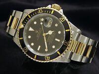 Rolex Submariner Date Mens 18k Yellow Gold Stainless Steel Watch Black Sub 16613