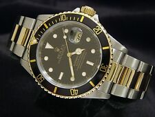 Rolex Submariner Date Mens 18k Yellow Gold Stainless Steel Watch Black Sub 16613