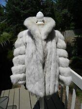 THICK & SOFT! Natural blue FOX fur jacket white - MEDIUM/LARGE - SHORT SLEEVES
