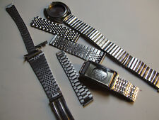 VINTAGE LOT OF WRISTWATCH BAND & BRACELET PARTS WITH TWO EMPTY CASE SWISS MADE