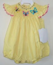 New Remember Nguyen Yellow Smocked Butterflies  Bubble Girl's 6 Month