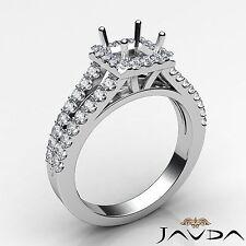 Princess Diamond Engagement Semi Mount 14k White Gold Halo Prong Set Ring 0.75Ct