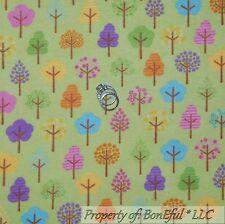 BonEful Fabric FQ Flannel Cotton Quilt Green Tree Scenic Stripe Pink Flower Girl