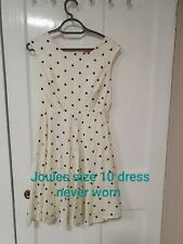 JOULES SIZE 10 POLKA DOT WHITE DRESS NEVER WORN