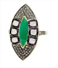 Style Natural Emerald Natural Diamond Ring 925 Silver Antique Rose Cut Victorian