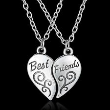2 PCS Hot Best Friend Forever BFF Heart Friendship Pendant Necklace Girl Jewelry