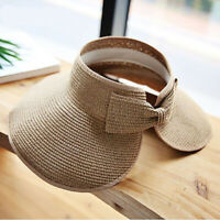 Visor Straw Sun Hat Cap Wide Brim Foldable Protection Women Summer Beach Roll Up