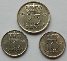 """Netherlands 1948 10 Cents, 1951 10 Cents & 1948 25 Cents Coins """"Lot of 3"""" SB4782"""