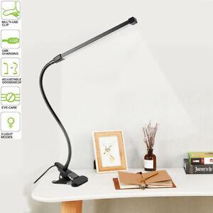 8W LED Klemmleuchte Tisch-Lampe dimmbar Schreibtischlampe Leselampe flexibel USB