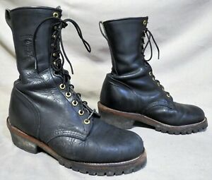 Size 9.5  Vintage Men/'s Steel Toe Black Leather Work boots