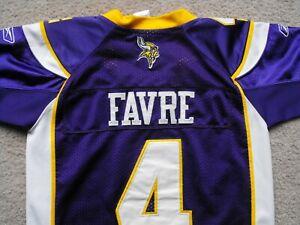 Vikings #4 Brett Favre Purple NFL Reebok Authentic Jersey - Youth M (12-14) Sewn