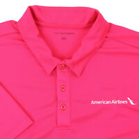 """American Airlines Men 2XL 53"""" Polo Shirt Bright Pink Polyester Short Sleeve"""