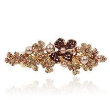 B59 Brown Rhinestone Pearl Flower Barrette Gold Tone Hair Clip Bridal Party Gift