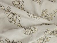 """Beige Linen? Fabric Embroidered Golden Sequin Roses  1 3/4 yd 1.75 yd 54"""" wide x"""
