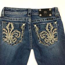 Miss Me Womens Jeans Size 26 Medium Wash Denim Capris Embroidered Fleur De Lis