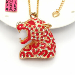 Fashion Red Enamel Leopard Head Crystal Pendant Betsey Johnson  Chain Necklace