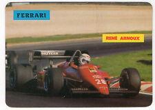 1985 portugués De Bolsillo Calendario F1 Ferrari Equipo conductor Rene Arnoux en acción