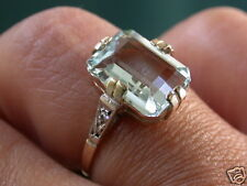 ANTIQUE DECO SOLID GOLD GENUINE DIAMONDS AQUAMARINE RING NR COMBINE SHI