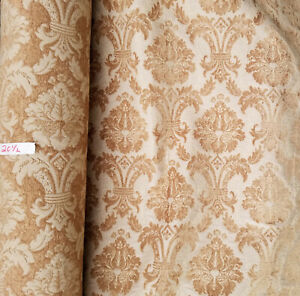 """Linen gold, Damask Floral Traditional Print Upholstery Fabric, 54"""" wide, sold by"""