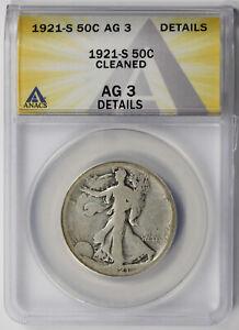 1921-S Walking Liberty Half Dollar Silver 50C AG 3 Details ANACS
