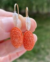 VINTAGE ESTATE  CARVED SALMON RED CORAL PEARL 14K GOLD  EARRINGS