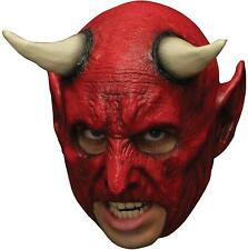 ADULT RED DEMON DEVIL WITH HORNS CHINLESS LATEX MASK COSTUME TB27518