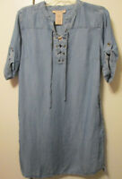 $88 Philosophy Tencel Blue Light Wash Lace Up Denim Look Shirt Dress Tunic Top M