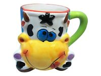 Novelty Coffee Mugs with Molded 3D Colorful Goofy Cow hand painted cute and fun