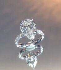 14K White Gold Certified 1.90Ct Pear Cut Diamond Engagement & Wedding Ring
