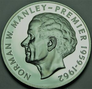 Jamaica 5 Dollars, 1976 Rare Argent Preuve ~23,000 Minted ~ Norman W.Manley ~ ,
