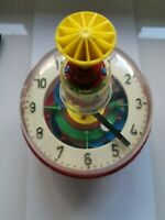 80'S VINTAGE BOLZ LBZ SPINNING TOP TIN LITHO WEST GERMANY CLOCK VERY RARE