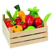 fruits et légumes en bois GOKI 51658 avec coffret en bois pour le épicerie
