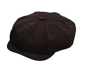 New Men's Brown Melton Wool 8 Panel Gatsby Newsboy Peaky Baker Boy Flat Cap