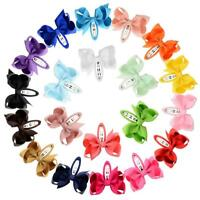 20 pcs Lovely Girls Grosgrain Ribbon Hair Bows Clip Solid Color Hair Accessories