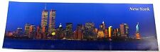 New York City Skyline Twin Towers Liberty Statue Night Print Picture Poster