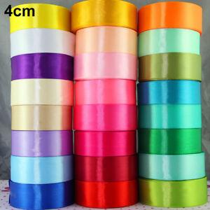1-5cm 25 Yards/Roll Solid Silk Satin Ribbon Wedding Party Decor Wrapping