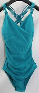 NWT KONA SOL Womens Small Braided Racerback Teal Green Wrap V-Neck Swimsuit