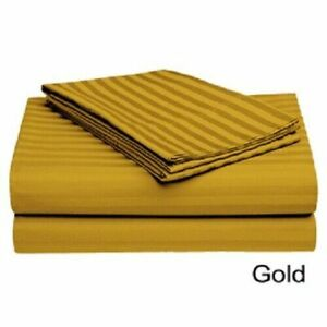 Gold Striped Split Corner Bedskirt Choose Drop Length US Size 800 Count