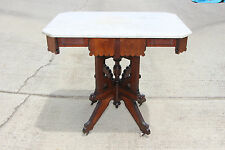 Fantastic Large Walnut Victorian Marble Top Eastlake Center Parlor Table Ca.1880