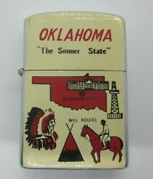 Vintage OKLAHOMA The Sooner State Cigarette Lighter Sooners old rare WILL ROGERS