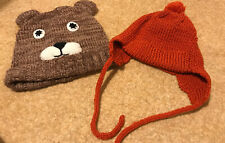 Unisex Baby Winter Hats Bundle 18-24m Orange Brown Bear