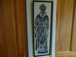 VINTAGE FRAMED BRASS RUBBING STYLE PRINT ON CLOTH MEDIEVAL GOTHIC 68 cm x 23 cm