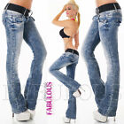 New Sexy Women's Stretch Jeans Bootleg Denim Pants Size 6 8 10 12 14 XS S M L XL