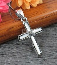 925 Sterling silver Marcasite Mother of Pearl Shell Inlay cross Pendant
