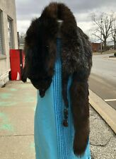 "Vintage 57"" Full Length Genuine Silver Black Fox Fur Taxidermy Pelt Shrug Stole"